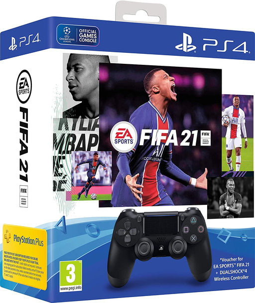 EA SPORTS FIFA 21 & BLACK DUALSHOCK 4 WIRELESS CONTROLLER BUNDLE FOR PS4