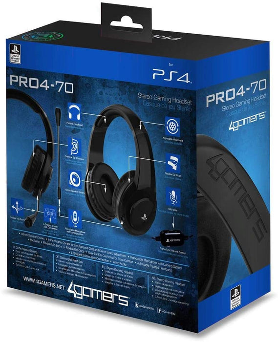 4GAMERS PRO4-70 STEREO GAMING HEADSET FOR PS4 - BLACK