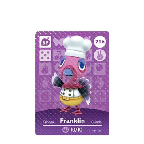 ANIMAL CROSSING: SERIES 3 - AMIIBO CARD - FRANKLIN NO.216 - NINTENDO 3DS