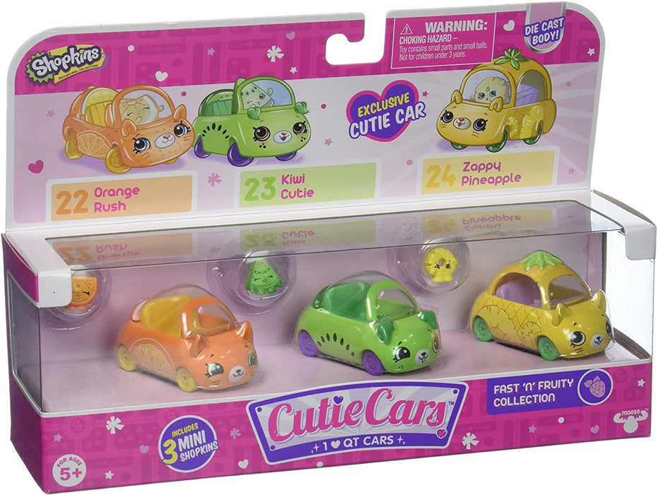 SHOPKINS CUTIE CARS FAST 'N' FRUITY COLLECTION 3 PACK