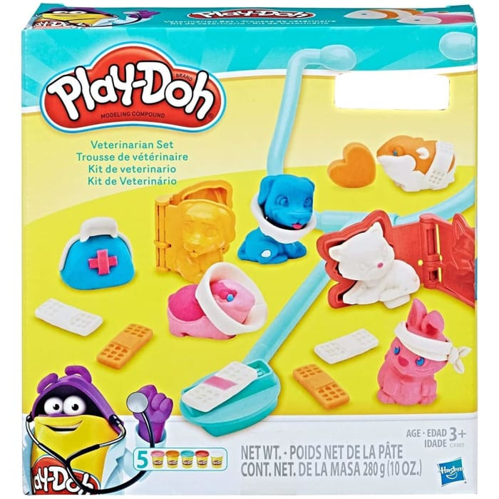 PLAY-DOH VETERINARIAN SET CHILDRENS DOUGH FIGURE PLAYSET DOG CAT BUNNY HAMSTER