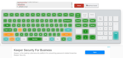 Clean user-interface of KeyboardTester.co showing all keys functional