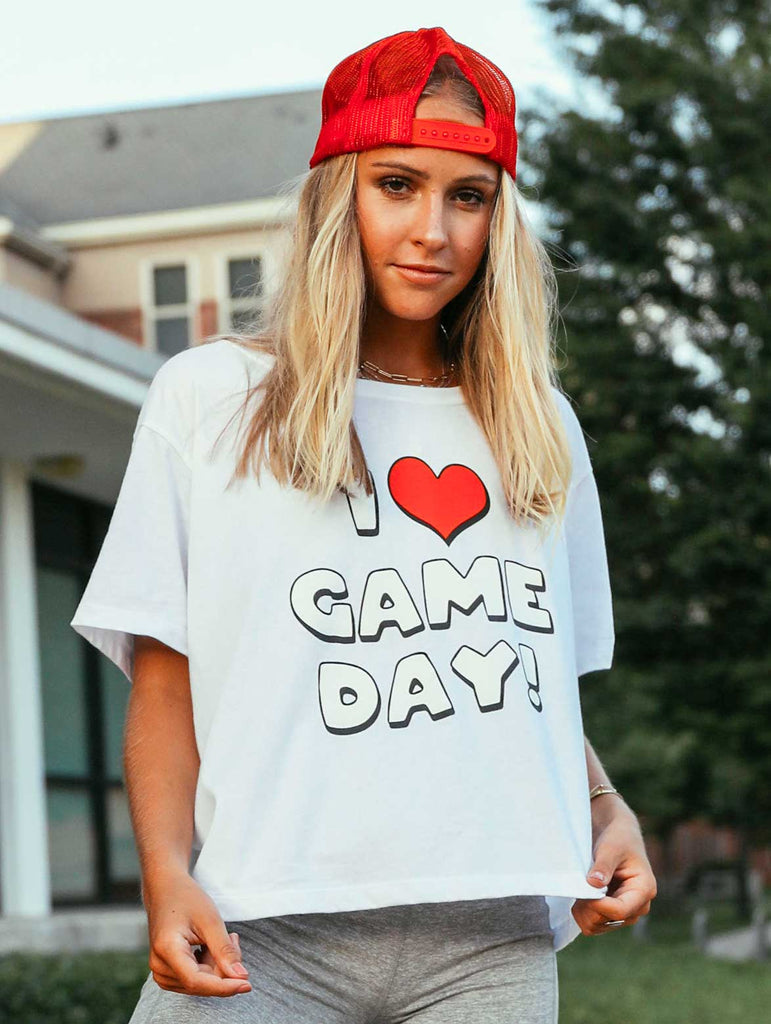 I HEART GAMEDAY CROP TEE