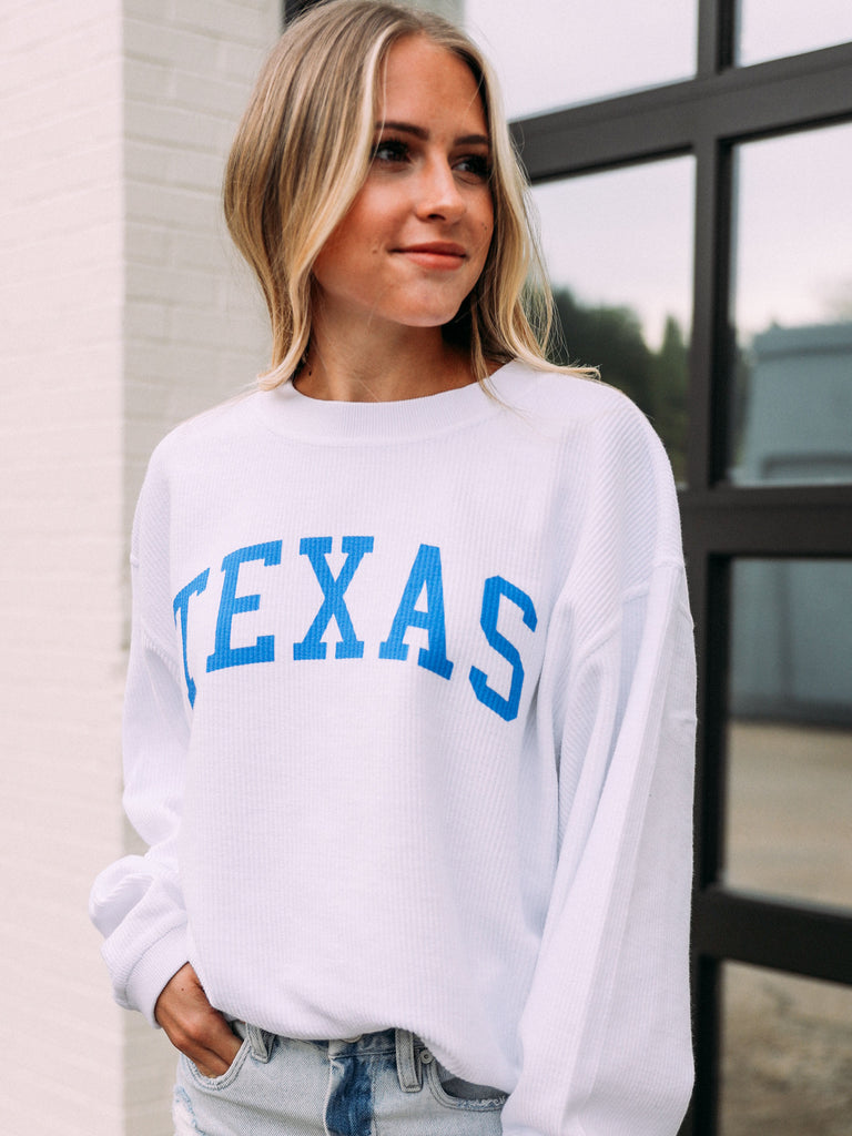 TEXAS WHITE CORDED SWEATSHIRT