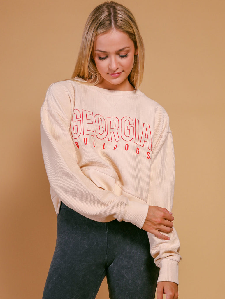 GA BULLDOGS CROPPED CORDED SWEATSHIRT