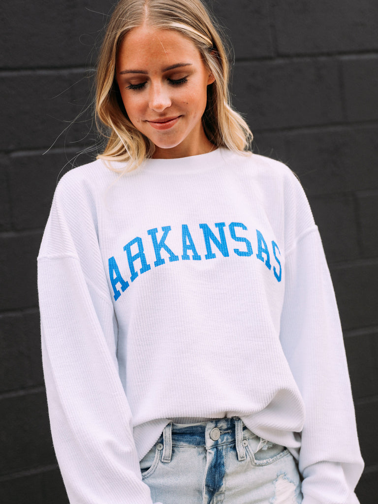 ARKANSAS WHITE CORDED SWEATSHIRT