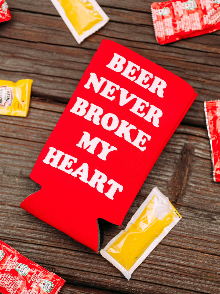 BEER NEVER BROKE MY HEART TALL DRINK SLEEVE