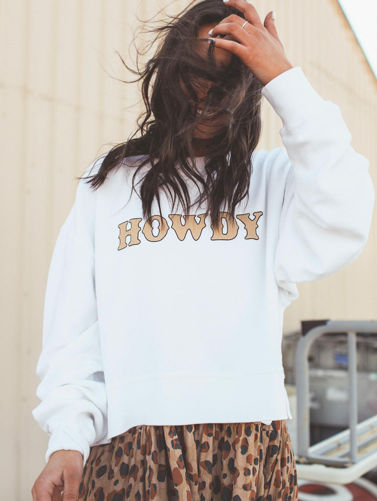 HOWDY WHITE CROPPED CORD (limited stock)