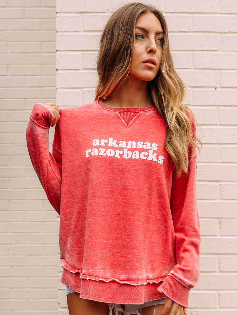 RAZORBACKS RED BURNOUT SWEATSHIRT