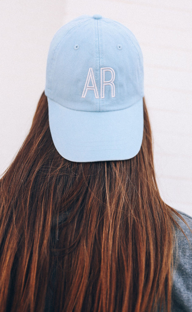Retro Initial Hat Baby Blue w/ Pink Font
