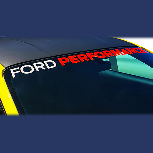 2005-2019 MUSTANG FORD PERFORMANCE WINDSHIELD BANNER-WHITE AND RED - Ford Performance