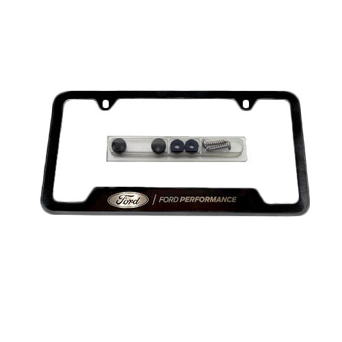 FORD PERFORMANCE LICENSE PLATE FRAME-BLACK STAINLESS STEEL - Ford Performance