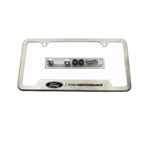 FORD PERFORMANCE LICENSE PLATE FRAME-BRUSHED STAINLESS STEEL - Ford Performance
