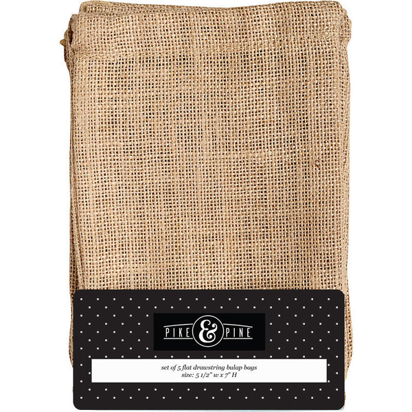 Burlap Drawstring Bags (Pack of 5)
