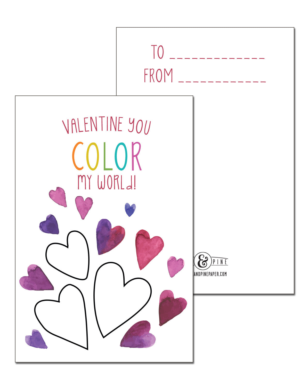 Color My World Valentines Cards Set of 15 Pike and Pine Paper – Valentines Cards to Color