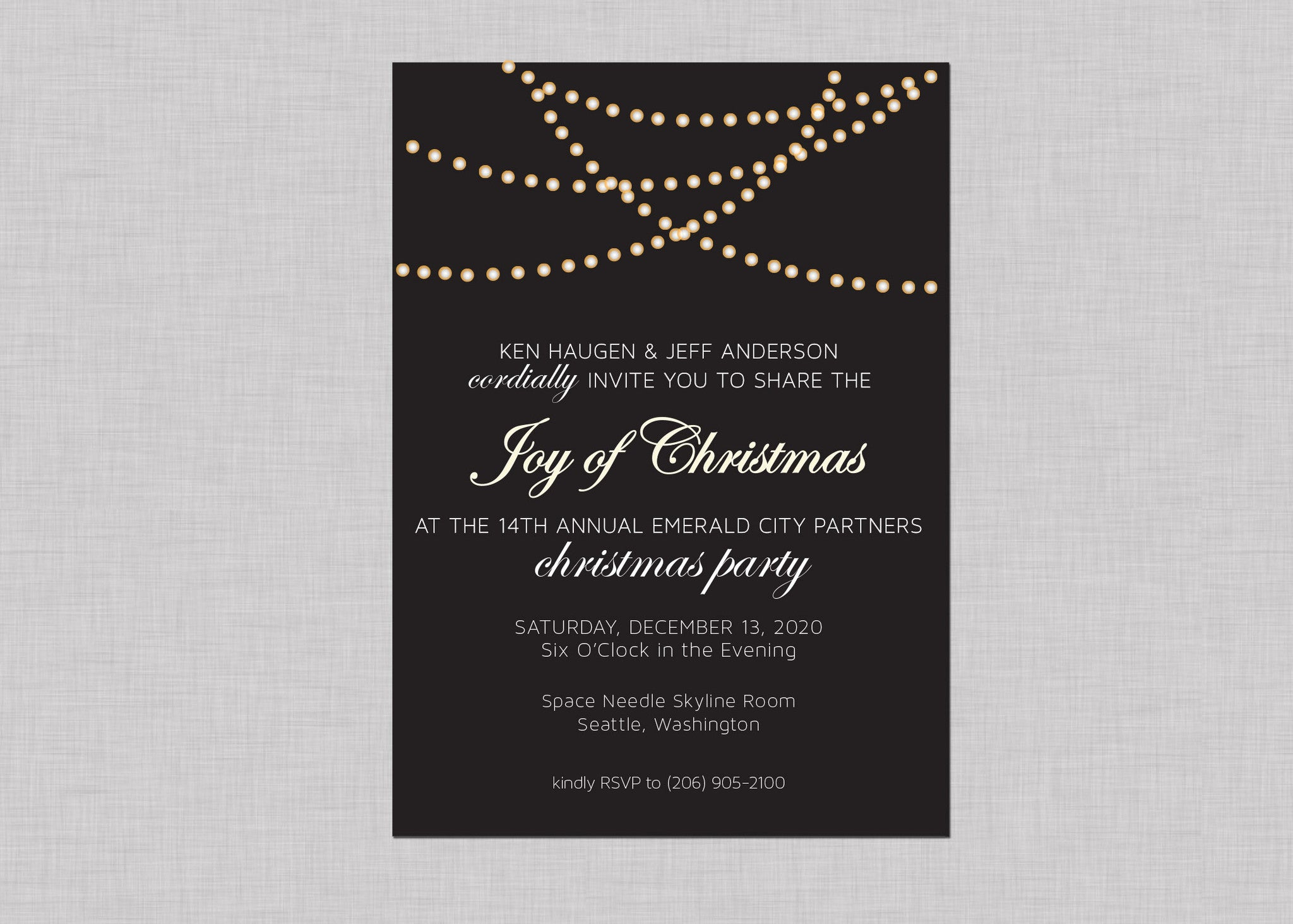 holiday lights invitation set of 10 pike and pine paper