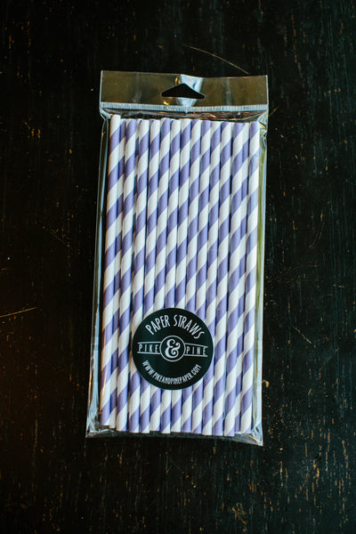 Purple Stripe Paper Straws (Set of 25)