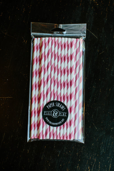 Pink Stripe Paper Straws (Set of 25)