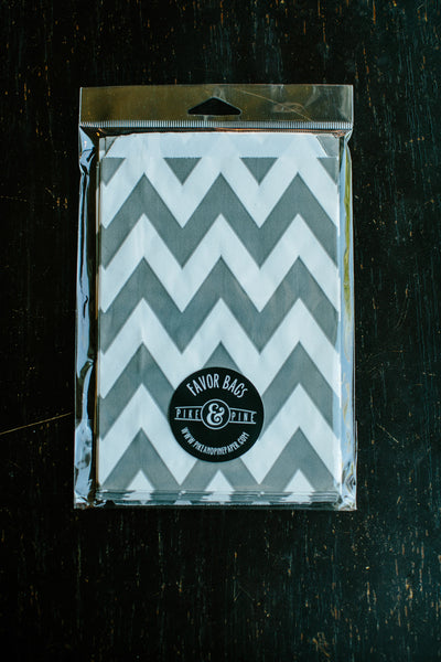 Grey Chevron Favor Bag (set of 20)