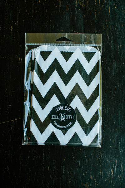 Black Chevron Favor Bag (set of 20)