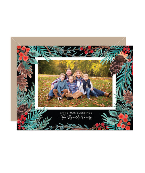 Pinecone Holiday Photo Card