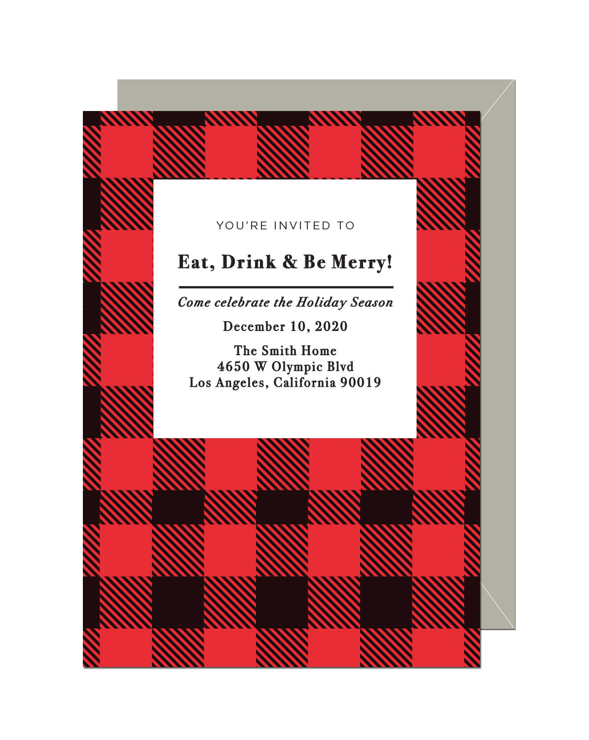 Plaid Holiday Invitation (Set of 10) – Pike and Pine Paper