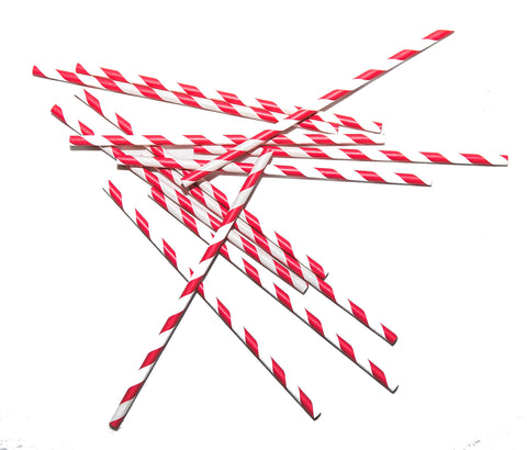 Red Stripe Paper Straws (Set of 25)