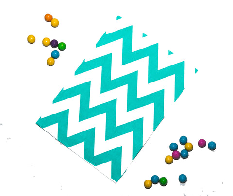 Teal Chevron Favor Bag (set of 20)