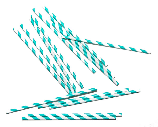 Teal Stripe Paper Straws (Set of 25)