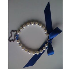 Pearl Necklace with Bone Pendant & Blue Ribbon