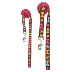 Top Paw Pink Flower & Bone Pattern Leash
