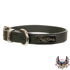 Bret Michaels Pets Black Leather Collar M
