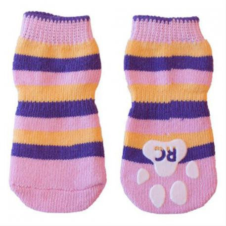 RC Pet Anti-Slip Socks Pink Stripes (M)