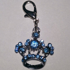 Blue Crystal Crown Charm Pendant
