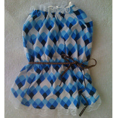 Blue & White Light Dress With Ribbon Belt M