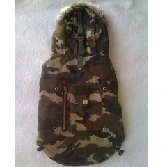 Green Army Jacket with Hoodie & Back Pocket M