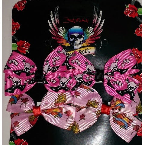 Bret Michaels Pets Rock Hair Bows 2 Sets