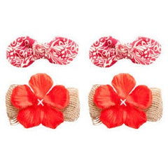 Tommy Bahama Red Hibiscus Hair Bows 2 Sets