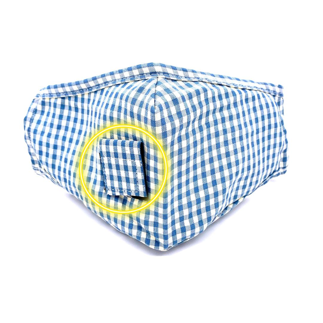 Face Mask Blue Gingham STRAW