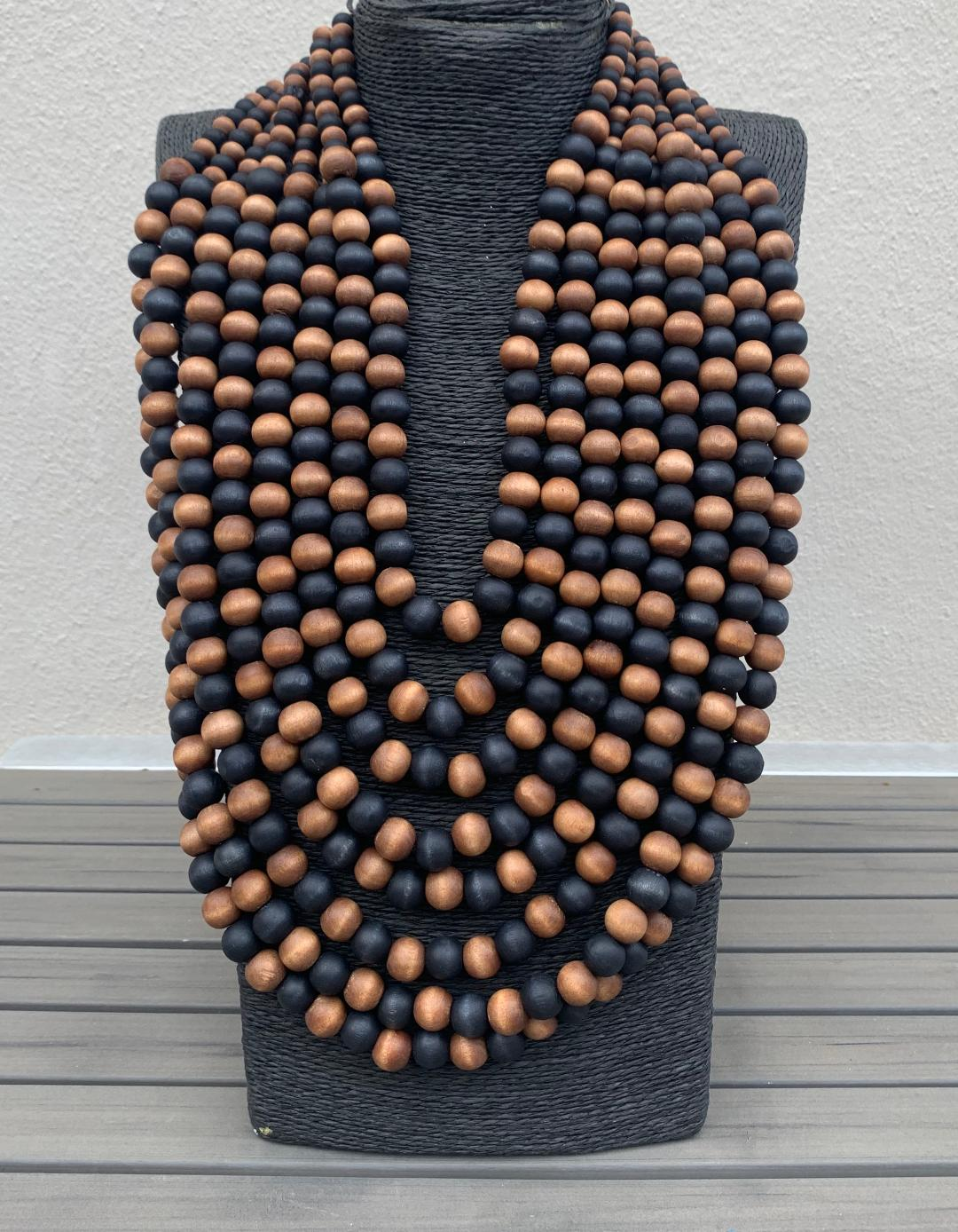 Jewelry Wood Multi String Necklace