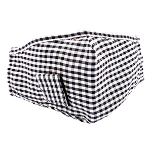 Face Mask Straw Black Gingham