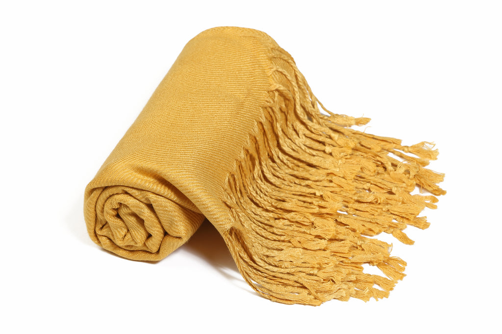 Solid Color Pashmina Mustard