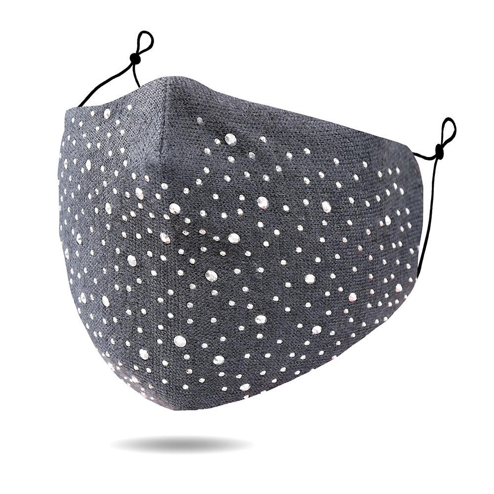 Face Mask Fancy Studs Charcoal