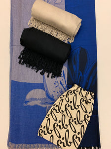 Flower Lily-Royal Blue Pashmina Bundle
