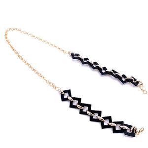 Chain Holder Luxury Square Link Black