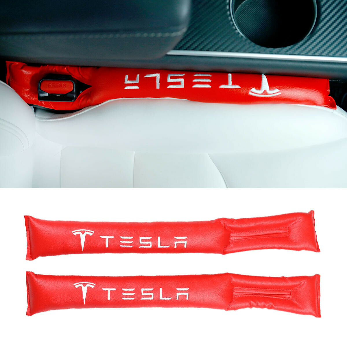 Tesla Seat Gap Fillers, Red, Pair, Model 3, Model S, Model ...