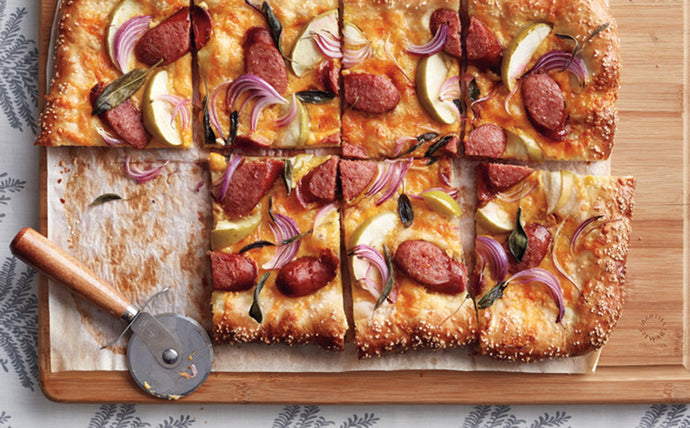 Kielbasa, Apple, and Cheddar Pretzel Tart