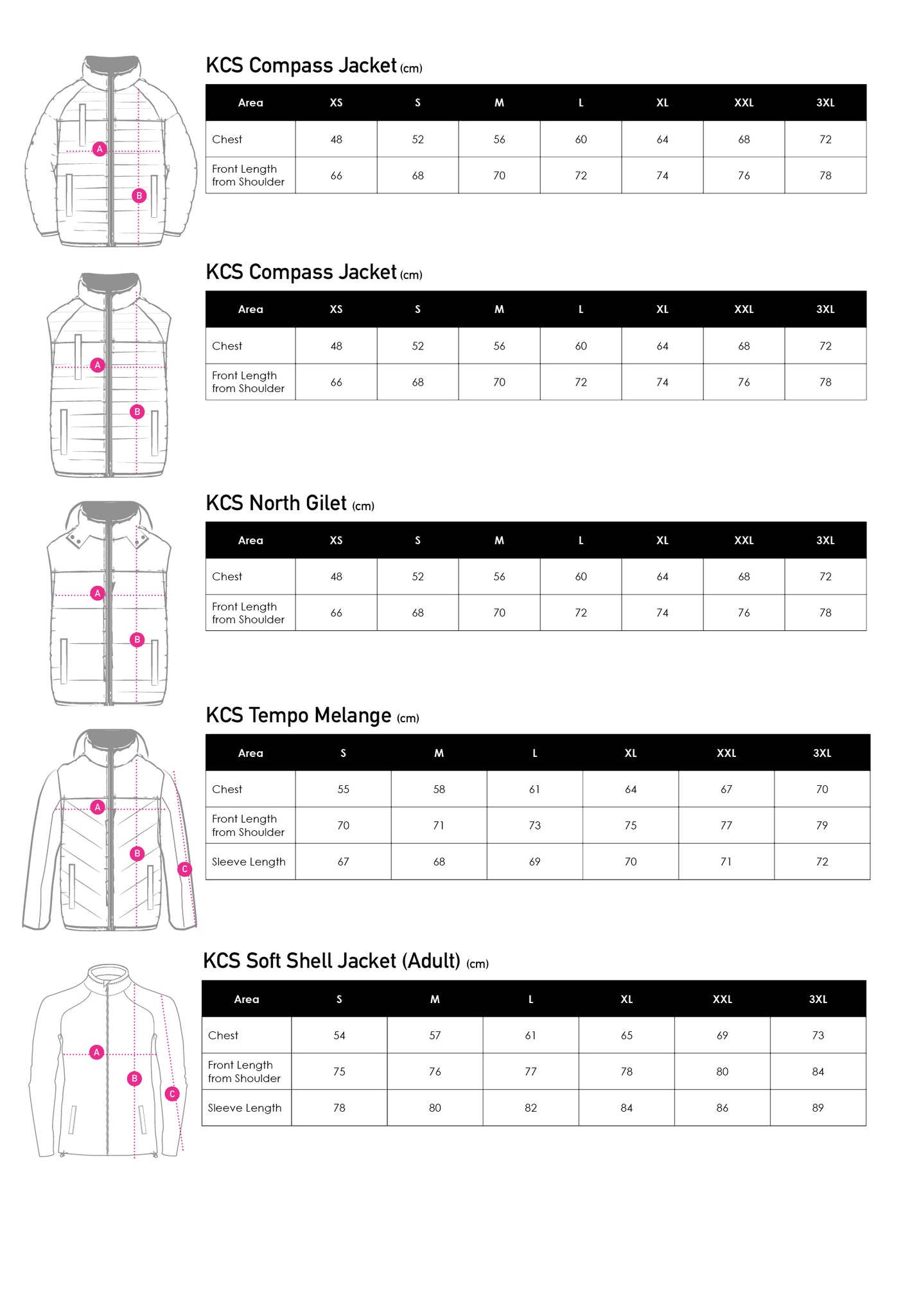 KCS Size Guide Jacket (Adults)