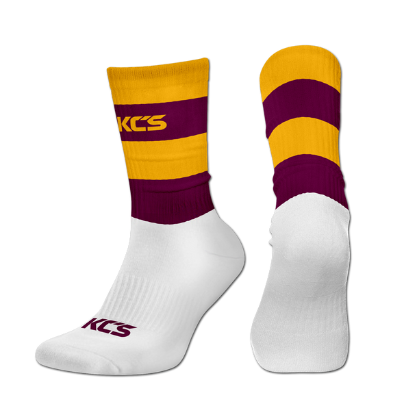 Exolite Socks (Gold/Maroon-Full Stripe)