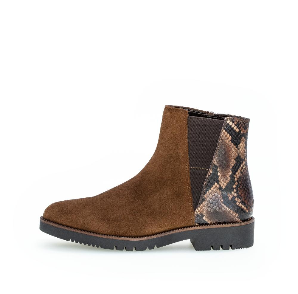Bottine daim marron avec motif serpent Gabor 56.581.41 Boots Gabor